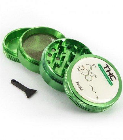 Metal Herb Grinder Black Leaf THC