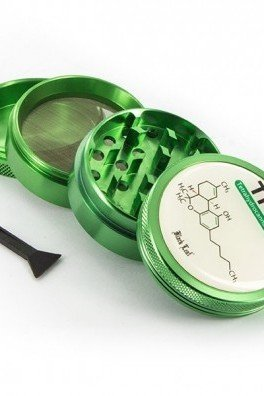 Metal Herb Grinder Black Leaf THC