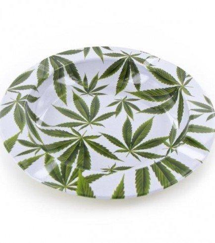 Metal Ashtray Marijuana Leaves