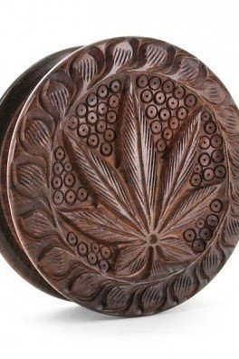 Wooden Grinder Carved Cannabis