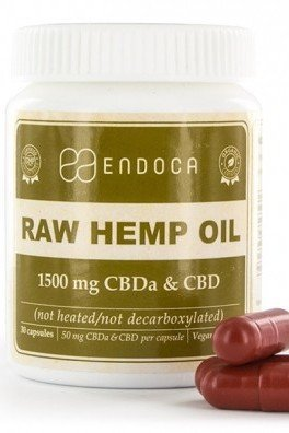 Endoca Raw Hemp Oil Capsules (15% CBD + CBDA)